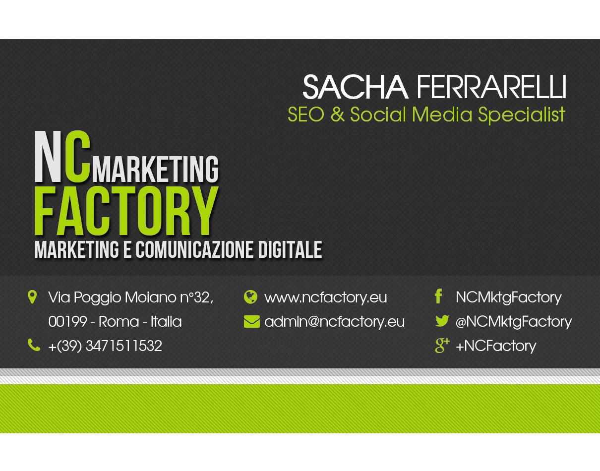 Biglietto da Visita di Sacha Ferrarelli per NCFactory