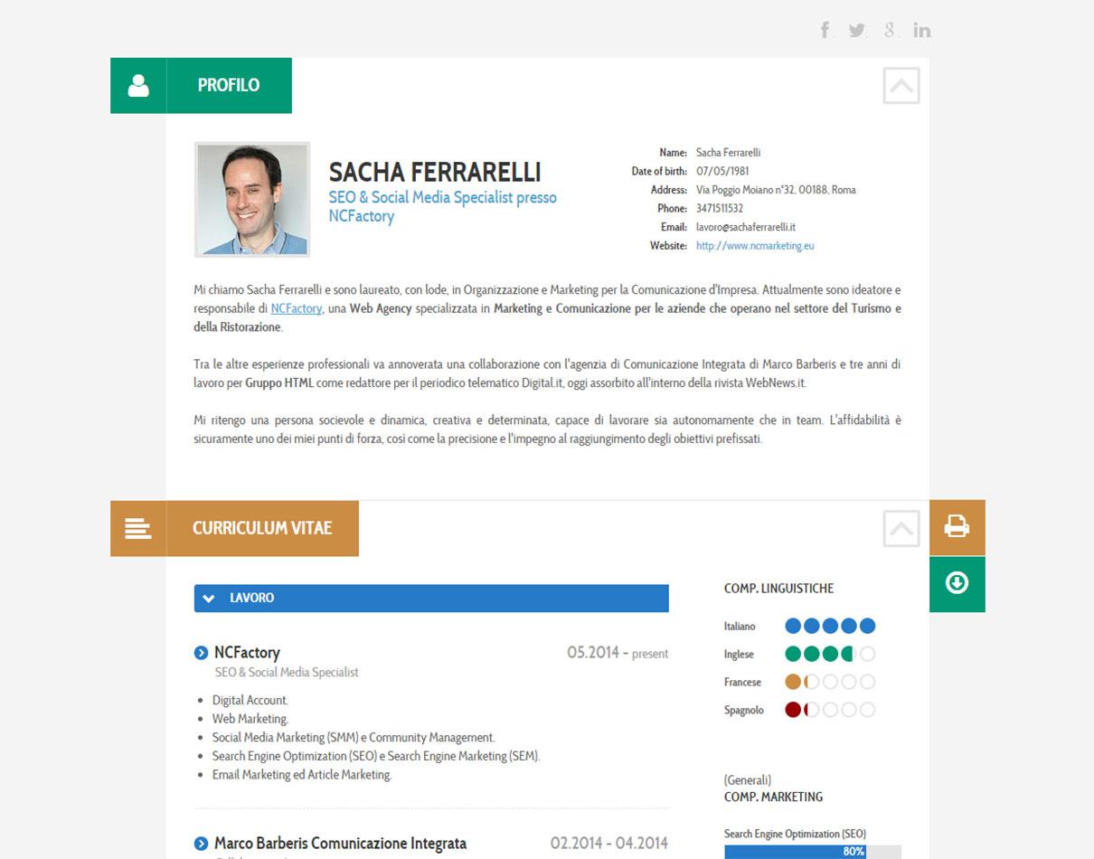 Curriculum Vitae Digitale di Sacha Ferrarelli